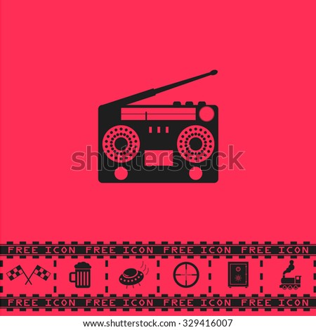 Classic 80s boombox. Black flat vector icon and bonus symbol - Racing flag, Beer mug, Ufo fly, Sniper sight, Safe, Train on pink background - stock vector