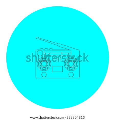 Classic 80s boombox. Black outline flat icon on blue circle. Simple vector illustration pictogram on white background - stock vector