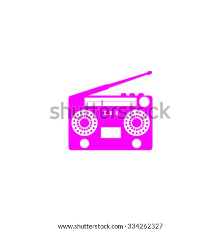 Classic 80s boombox. Pink flat icon. Simple vector illustration pictogram on white background - stock vector