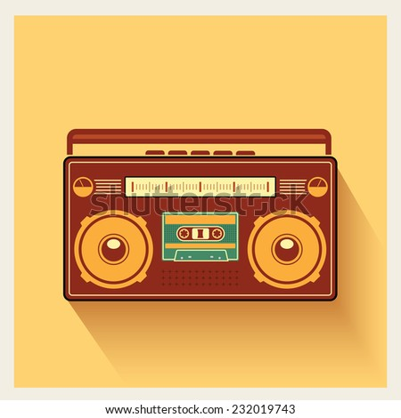 Classic 80s Boombox Portable Cassette Tape Player on Retro Background Detailed Vector Icon - stock vector