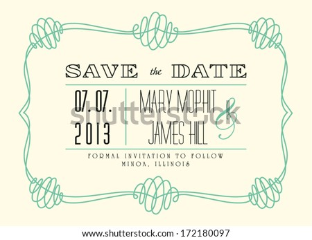 Classic Save the Date - stock vector