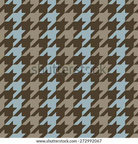 Classic seamless hounds tooth pattern with vertical stripes in blue and brown. - stock vector