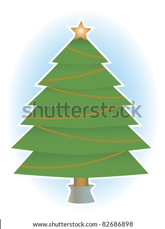 Classic simple holiday tree with no ornaments only star a top, vector illustration - stock vector