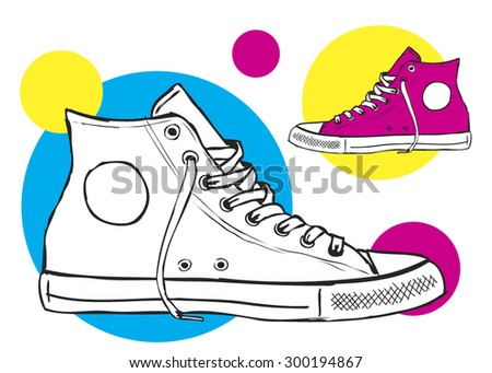 classic sneaker sketched VECTOR fully editable - stock vector