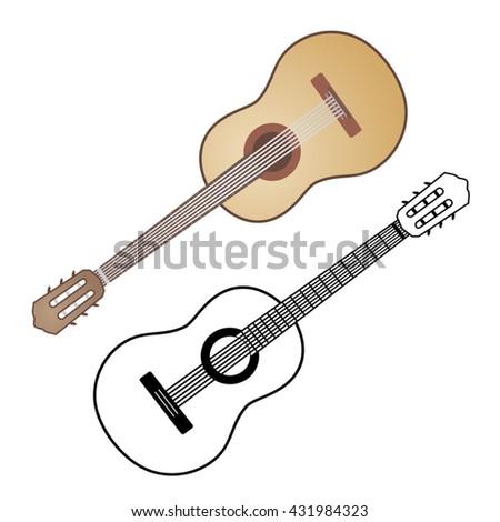 classic spanish guitar - stock vector