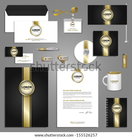 Classic stationery template design with golden elements. Documentation for business. - stock vector