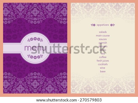 classic style flower decorated menu - light purple color flowers on bright purple color background - stock vector
