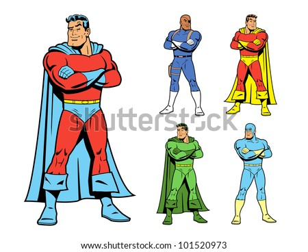 Classic Superhero and Cool Variations Image Set - stock vector