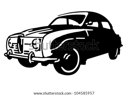 Classic Swedish car with a design inspired by aeroplanes. - stock vector