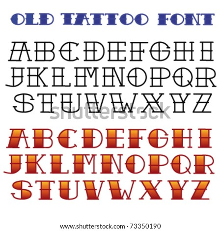 Stock images similar to id 101177131 old school tattoo for Classic house number fonts