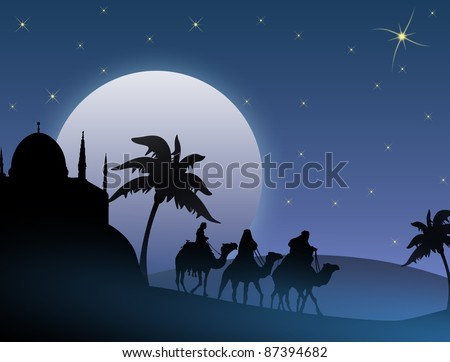 Classic three magic scene and shining star of Bethlehem, vector illustration - stock vector