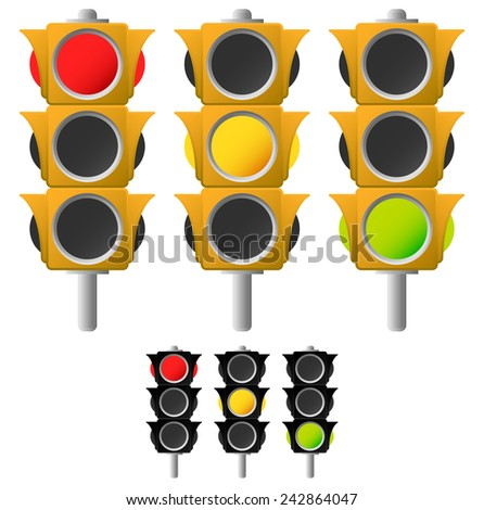 Classic traffic lamps with black versions - stock vector