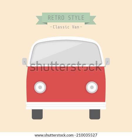 classic van, retro style - stock vector