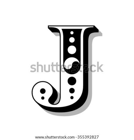 Classic vintage font, letter J, vector - stock vector