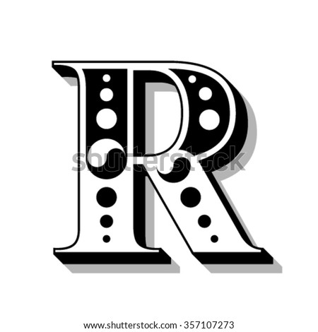 Classic vintage font, letter R, vector - stock vector