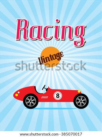 classic vintage race car racing poster vector - stock vector