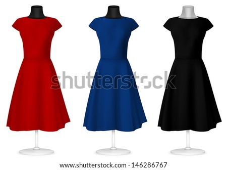 Classic women's plain dress template. - stock vector