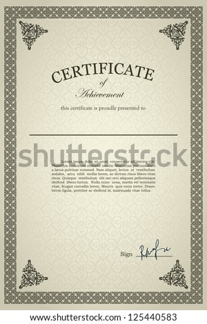 Classical Certificate of achievement, detailed - stock vector