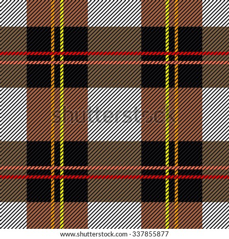 Classical checkered plaid. Seamless vector pattern with diagonal hatching. Retro textile collection. Grey, brown, black with red and yellow stripes. Backgrounds & textures shop. - stock vector
