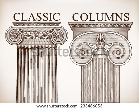 Classical column background set - stock vector