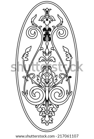 Classical ornament in oval. Damask pattern. Vector. - stock vector