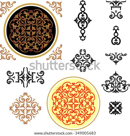 Classical Ornamental Elements-Traditional style in different variations - stock vector