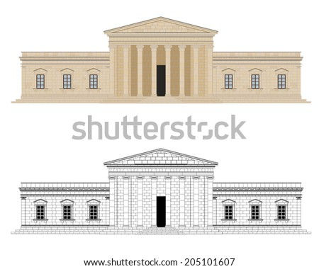 Classical Palace Vector Illustration. Detailed graphic of classical palace with columns. Color and black and white version on different layers. Flat design, no gradients - stock vector
