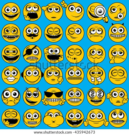 Classical Popular Yellow Emoticons. Vector Smiley. Funny Face Characters. Funny Smile Emoji. Isolated Icon Set. Collection of People Emotions - stock vector
