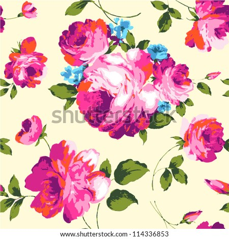 classical seamless rose pattern - stock vector