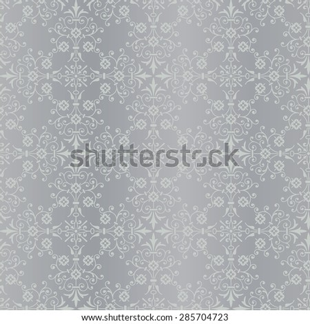 Classical seamless silver vector background pattern - stock vector