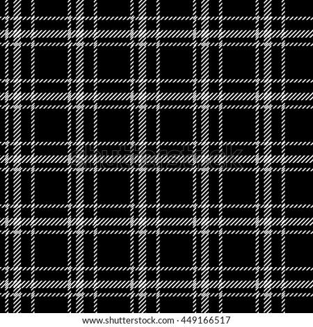 Classical shirt cotton fabric. Checkered seamless vector pattern. Retro textile collection. Black. - stock vector