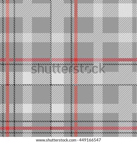 Classical shirt cotton fabric. Checkered seamless vector pattern. Retro textile collection. Grey. - stock vector