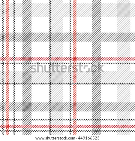 Classical shirt cotton fabric. Checkered seamless vector pattern. Retro textile collection. Light grey. - stock vector