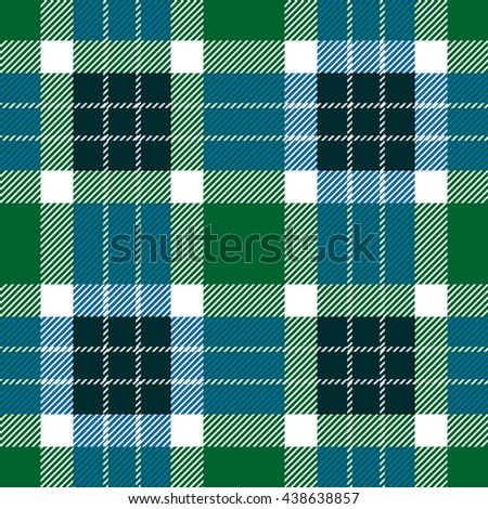 Classical Shirt Seamless Pattern. Checkered Plaid Vector Background. Retro Textile Design motifs. Chequered cotton fabric. Checkers with hatched strips. Cotton-looking cloth texture. Green - stock vector