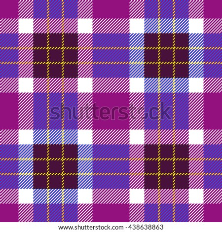 Classical Shirt Seamless Pattern. Checkered Plaid Vector Background. Retro Textile Design motifs. Chequered cotton fabric. Checkers with hatched strips. Cotton-looking cloth texture. Purple, blue. - stock vector