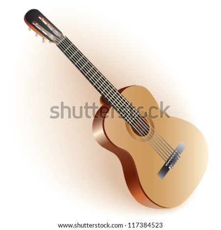 Classical Spanish guitar. Isolated on white background. Fully editable vector - stock vector