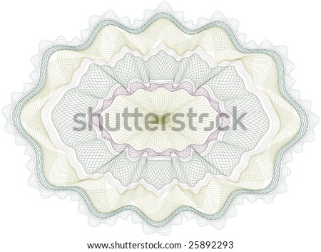 Classical vector guilloche pattern that is used in currency, tickets,  diplomas, certificates etc. Vector in CMYK - stock vector