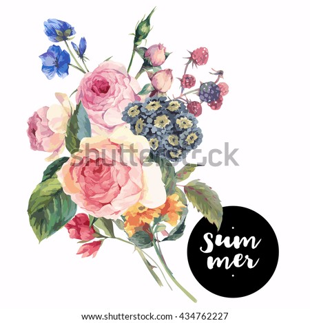 Classical vector vintage floral greeting card, watercolor bouquet of English roses and wildflowers, botanical natural watercolor illustration on white Background - stock vector