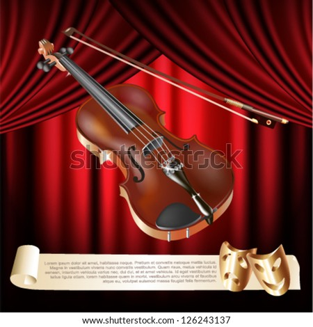 Classical violin on a red velvet curtain background - stock vector