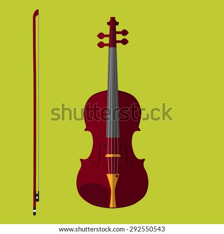 Classical violin with bow. Isolated musical instrument on lime background. Vector illustration in flat style design.   - stock vector