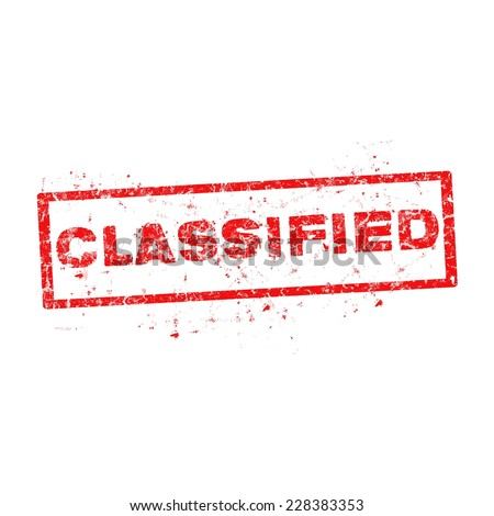 Classified red stamp text on white. - stock vector