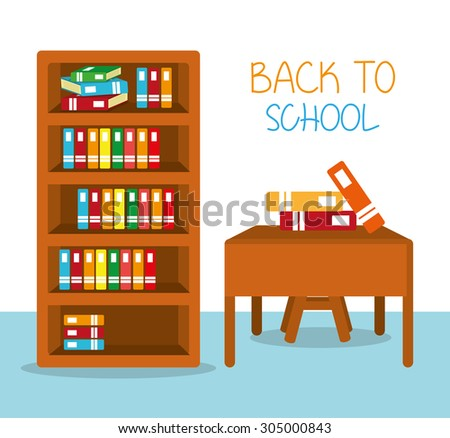 Classroom and material school - stock vector