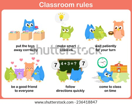 Classroom rules for kids - stock vector