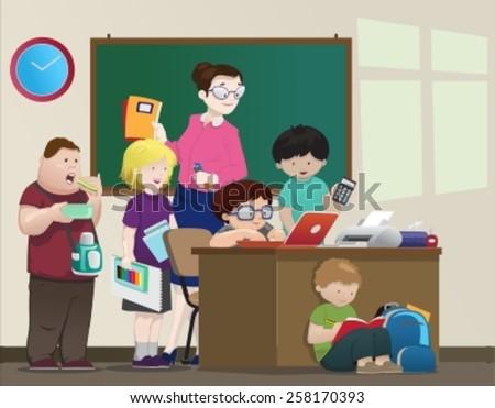 Classroom-vector - stock vector