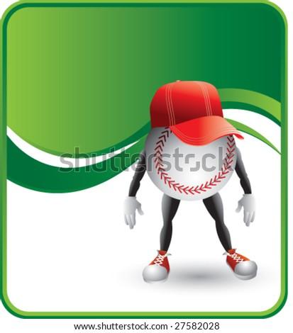classy cartoon baseball hat background - stock vector