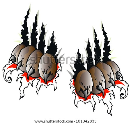 claw wolf - stock vector