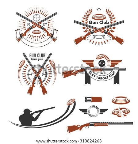 Clay target emblems and design elements - stock vector