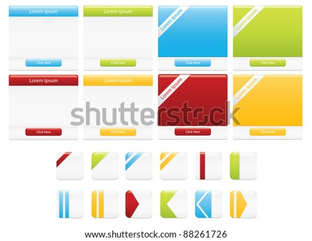 Clean and minimal white web boxes and buttons in various designs and four different colours - stock vector