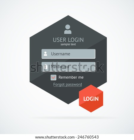 Clean business login form page. Template. Vector  - stock vector
