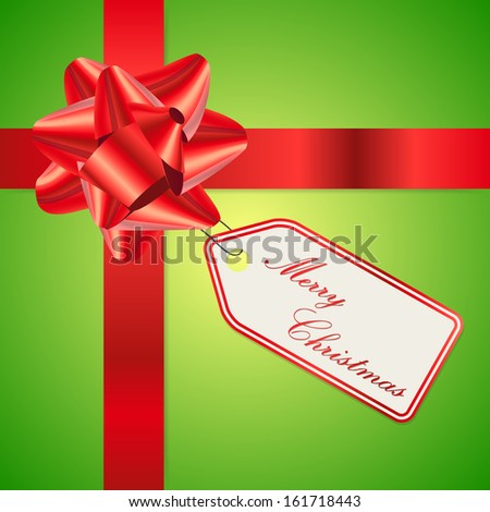 Clean color Merry Christmas greeting card with gift ribbon - stock vector